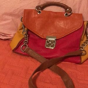 Handbags - Three color leather purse with shoulder strap.